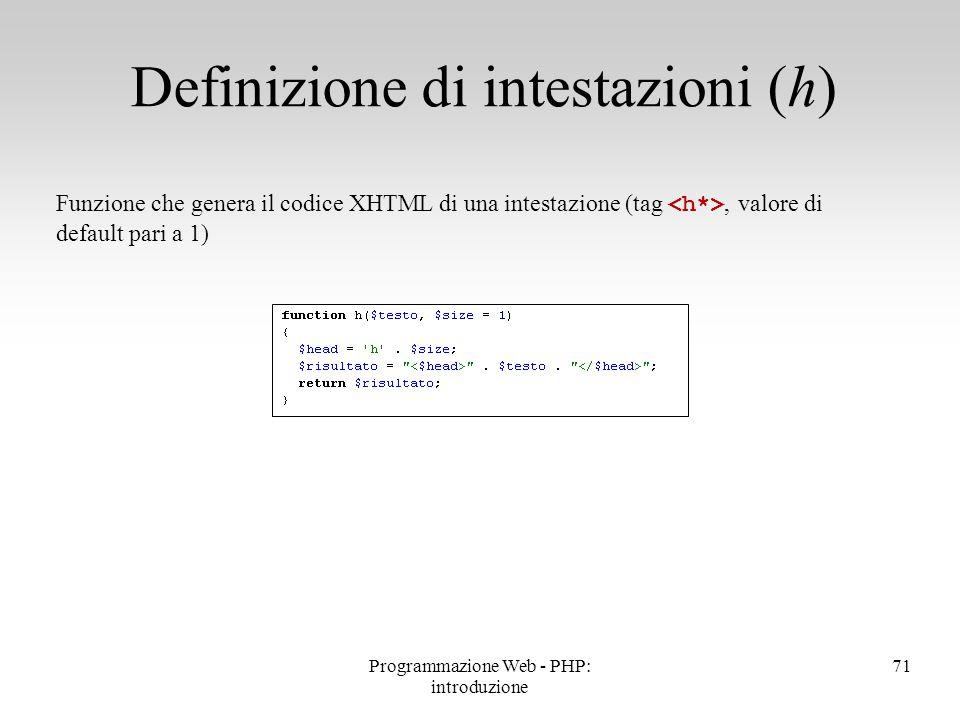 Definizione di intestazioni (h)