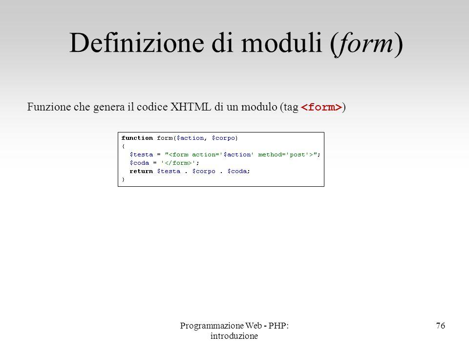 Definizione di moduli (form)