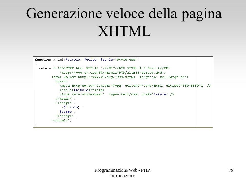Generazione veloce della pagina XHTML
