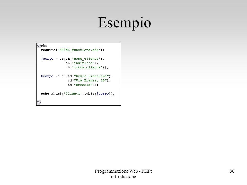 Programmazione Web - PHP: introduzione