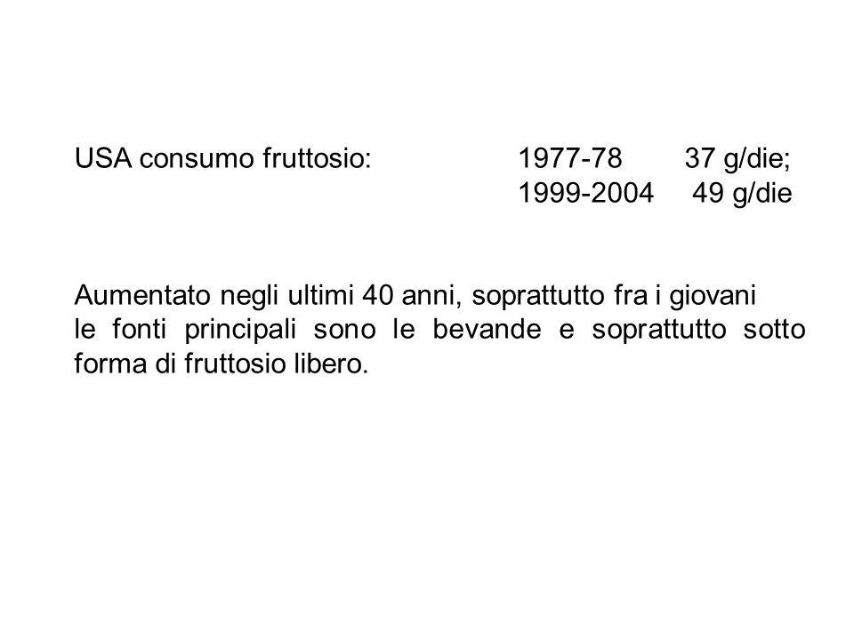 USA consumo fruttosio: 1977-78 37 g/die;