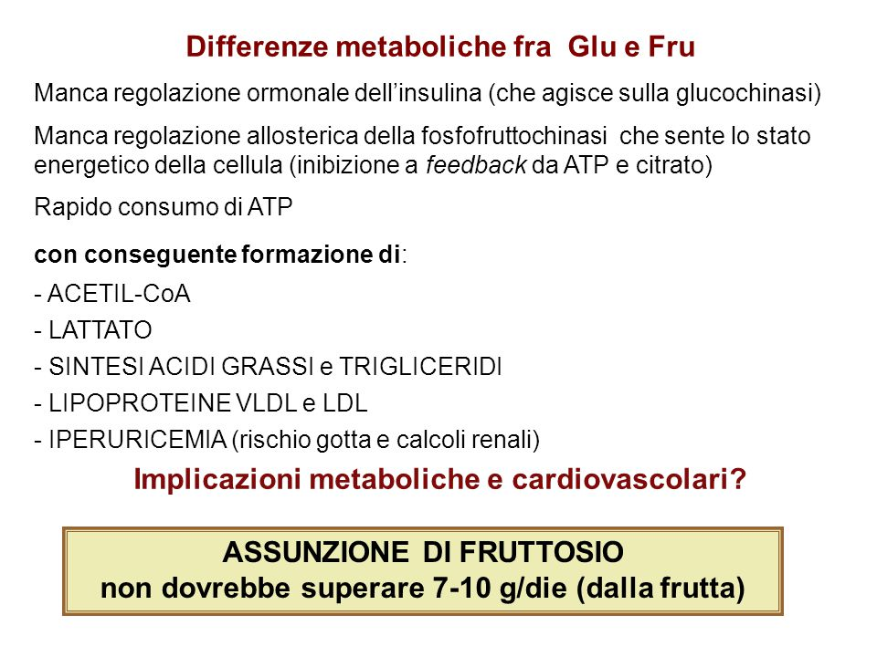 Differenze metaboliche fra Glu e Fru