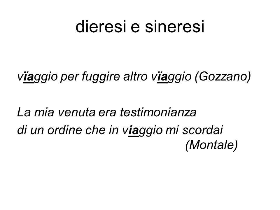 dieresi e sineresi vïaggio per fuggire altro vïaggio (Gozzano)