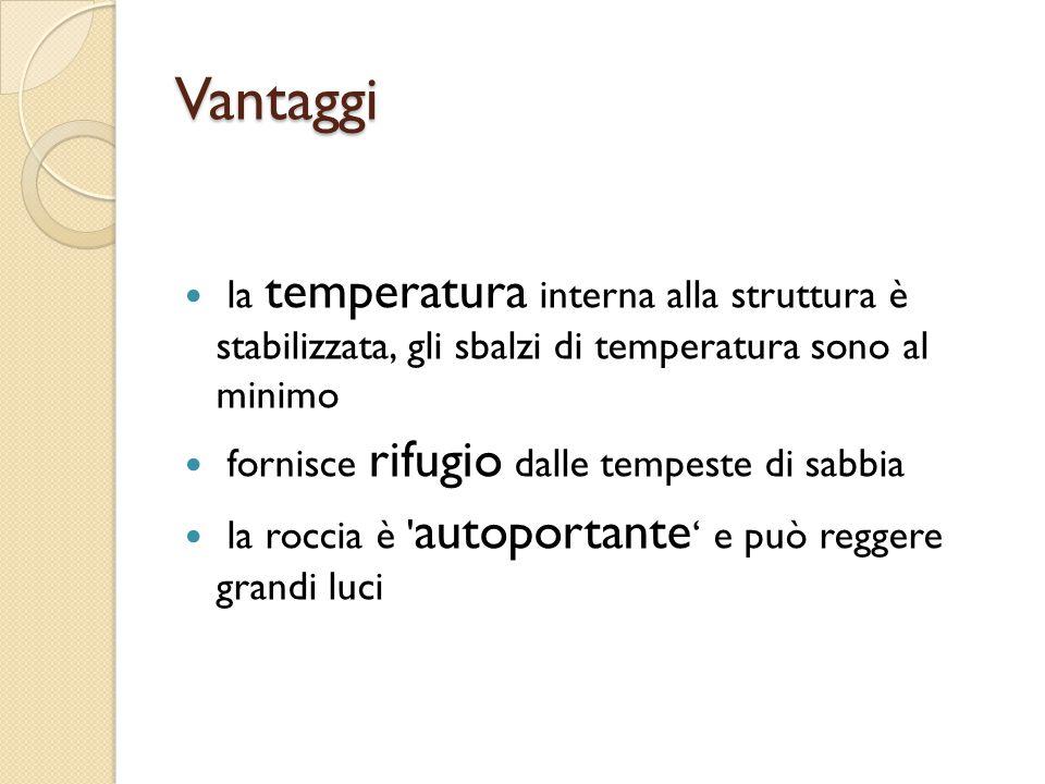 Vantaggi la temperatura interna alla struttura è stabilizzata, gli sbalzi di temperatura sono al minimo.