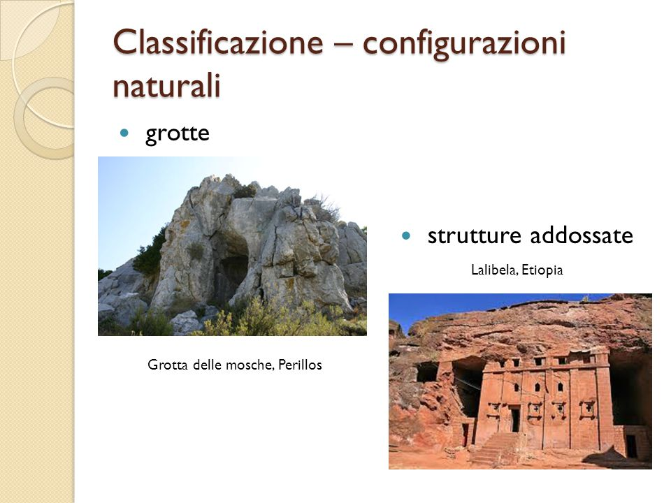 Classificazione – configurazioni naturali