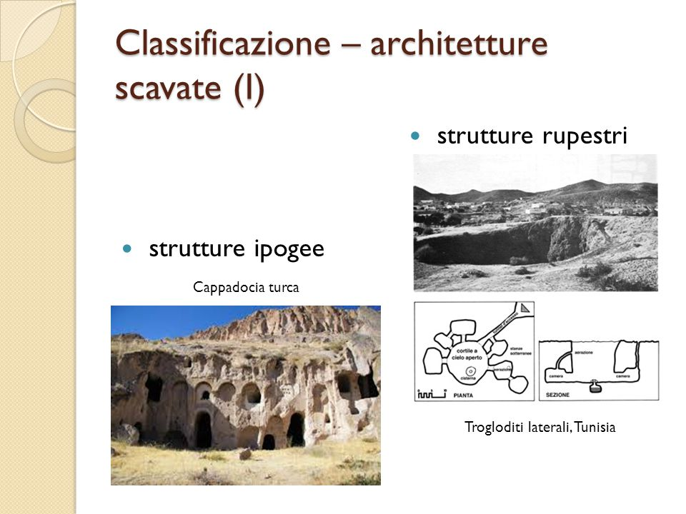 Classificazione – architetture scavate (I)