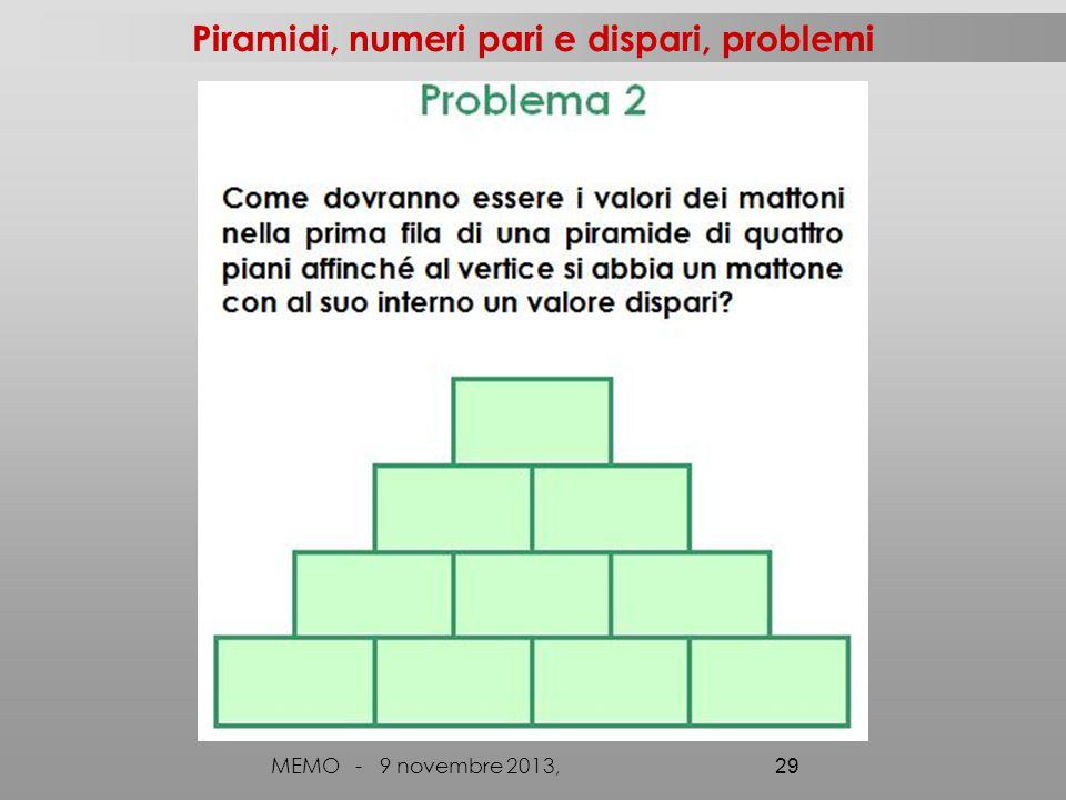 Piramidi, numeri pari e dispari, problemi