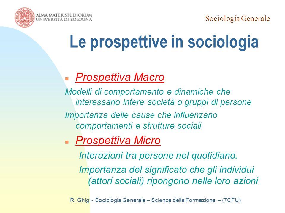 Le prospettive in sociologia