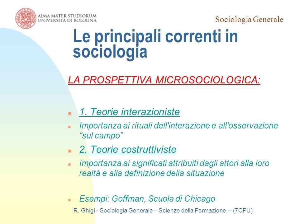 Le principali correnti in sociologia