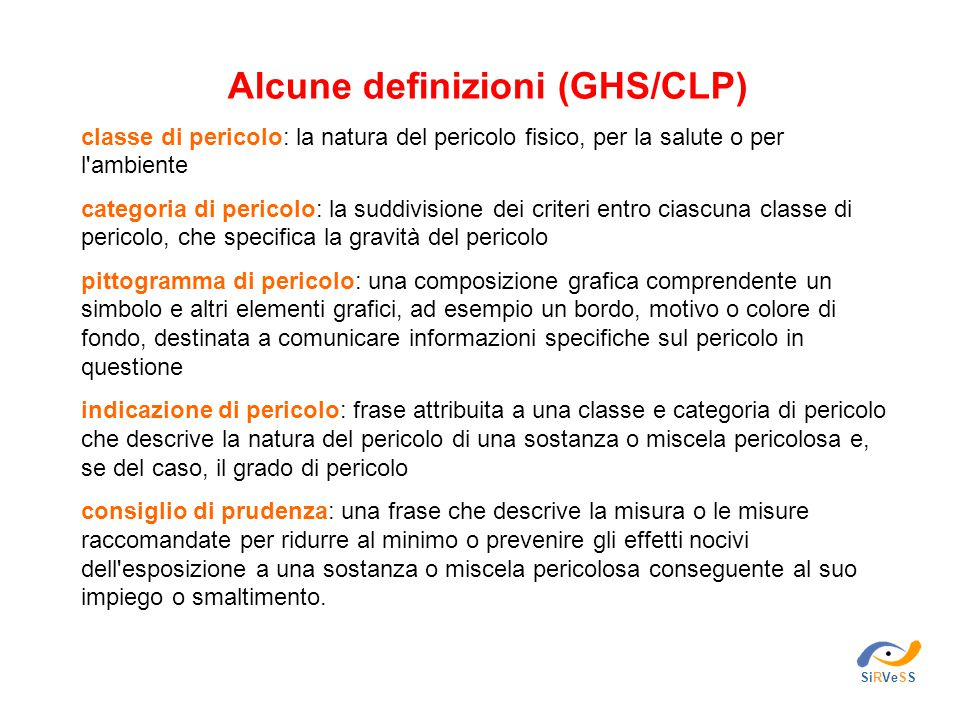 Alcune definizioni (GHS/CLP)