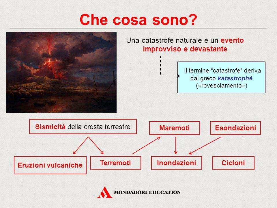 Che cosa sono Una catastrofe naturale è un evento improvviso e devastante. Il termine catastrofe deriva dal greco katastrophé («rovesciamento»)