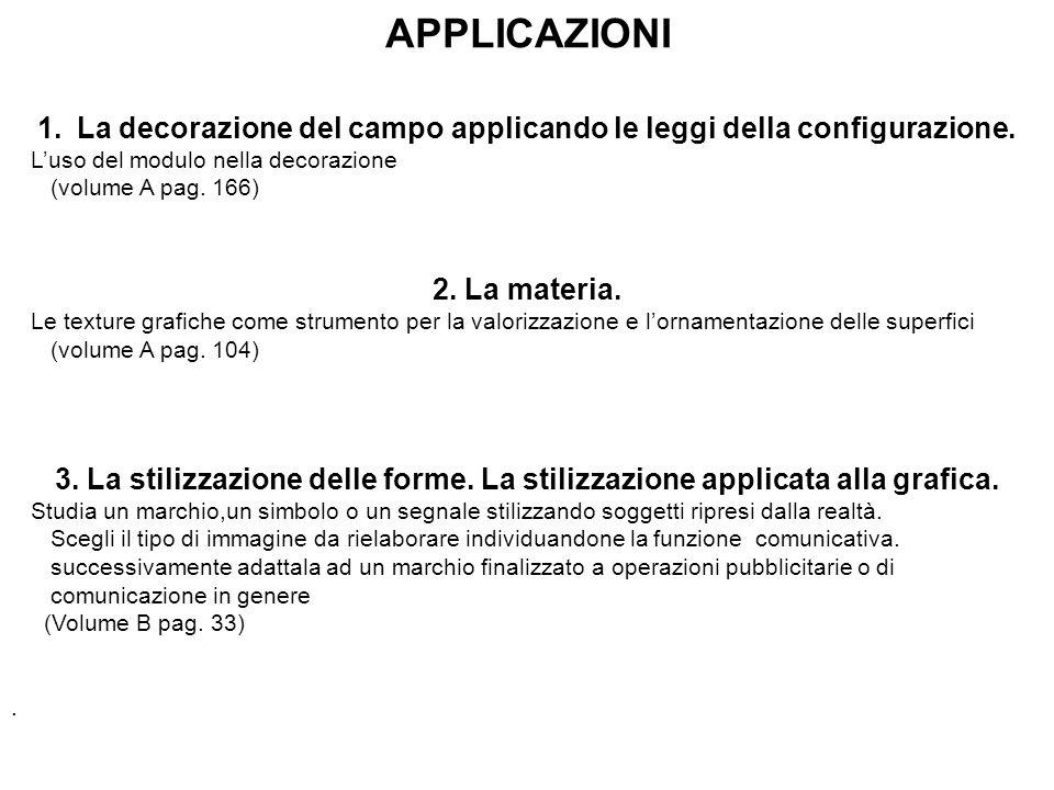 La decorazione del campo applicando le leggi della configurazione.
