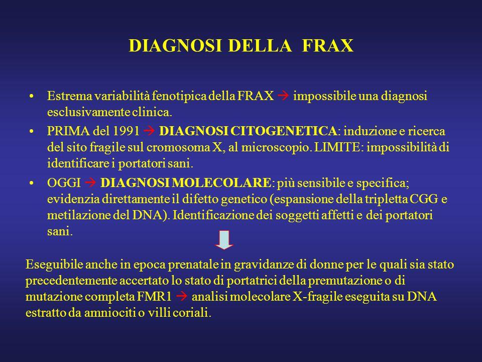 DIAGNOSI DELLA FRAX Estrema variabilità fenotipica della FRAX  impossibile una diagnosi esclusivamente clinica.