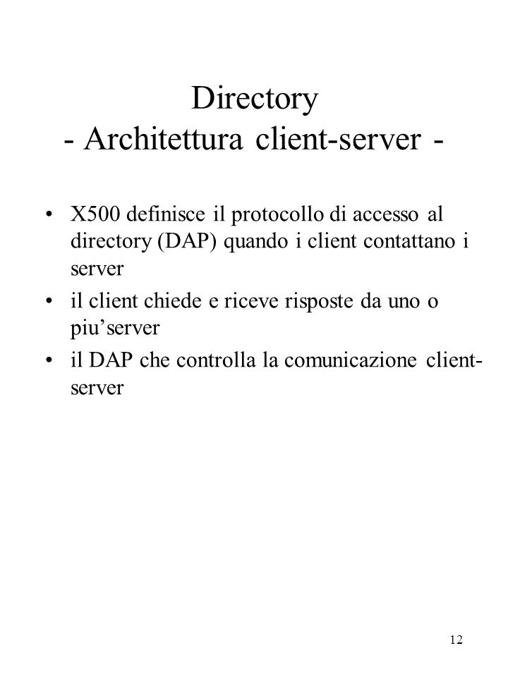 Directory - Architettura client-server -
