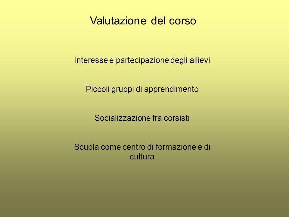 Valutazione del corso Interesse e partecipazione degli allievi