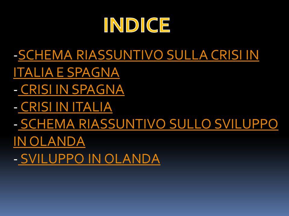 INDICE SCHEMA RIASSUNTIVO SULLA CRISI IN ITALIA E SPAGNA