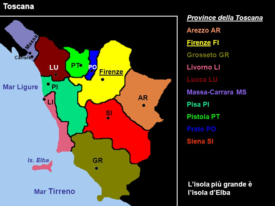 Toscana Province della Toscana Arezzo AR Firenze FI Grosseto GR