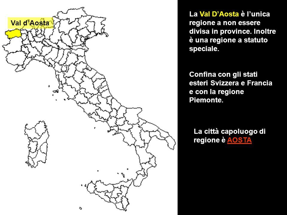 La Val D'Aosta è l'unica regione a non essere divisa in province