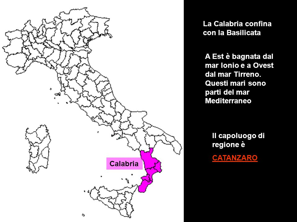 La Calabria confina con la Basilicata