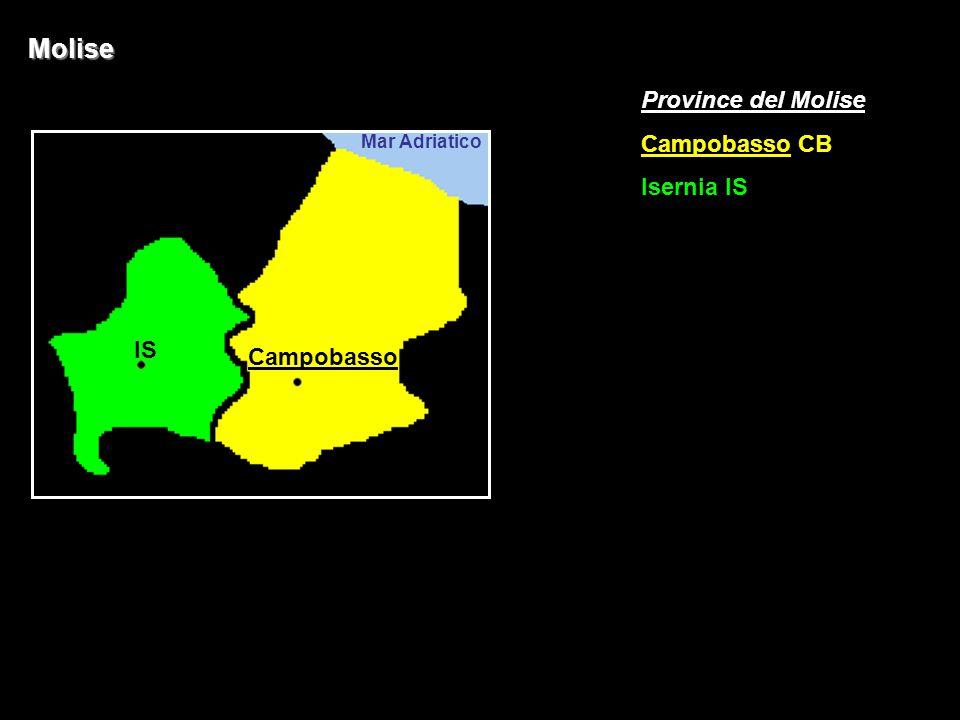 Molise Province del Molise Campobasso CB Isernia IS IS Campobasso
