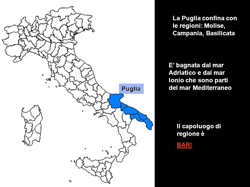 La Puglia confina con le regioni: Molise, Campania, Basilicata