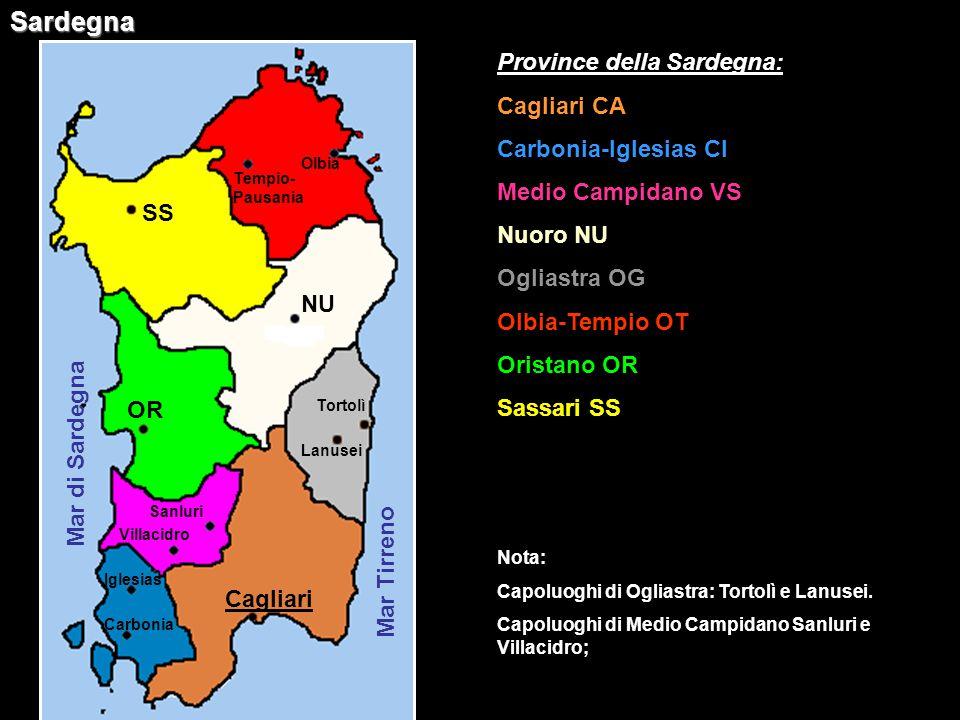 Sardegna Province della Sardegna: Cagliari CA Carbonia-Iglesias CI