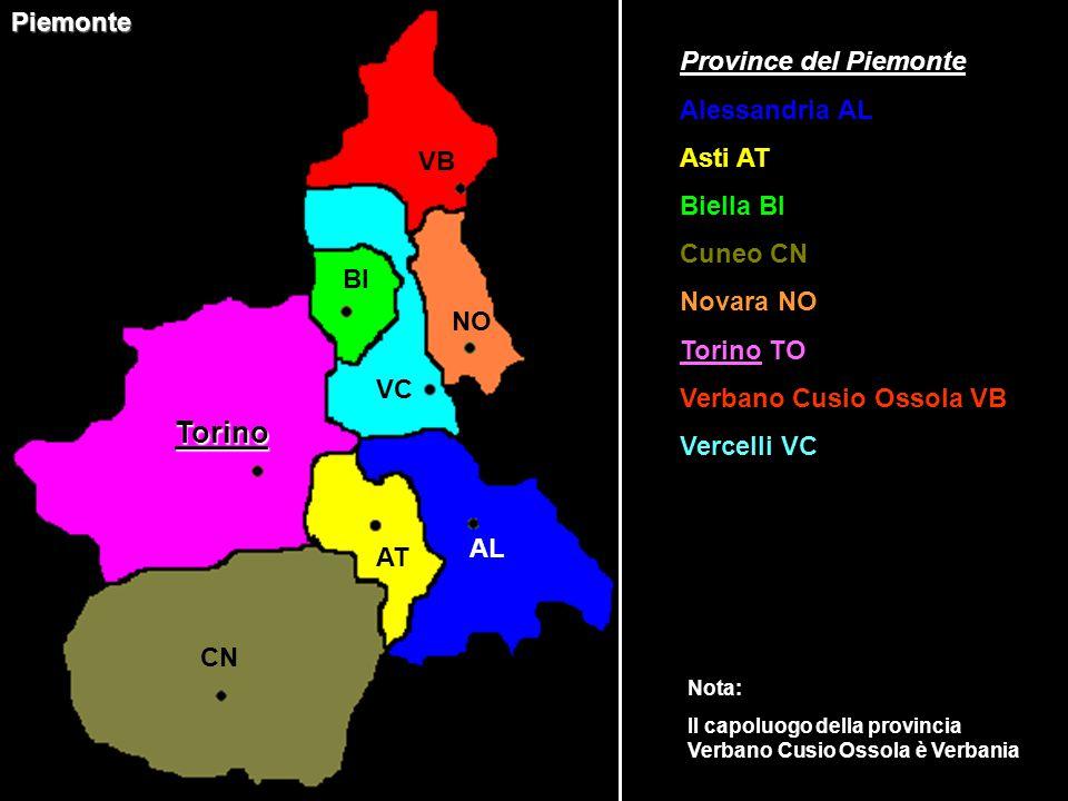 Torino Piemonte Province del Piemonte Alessandria AL Asti AT Biella BI