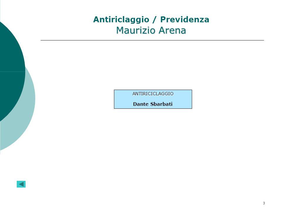 Antiriclaggio / Previdenza Maurizio Arena