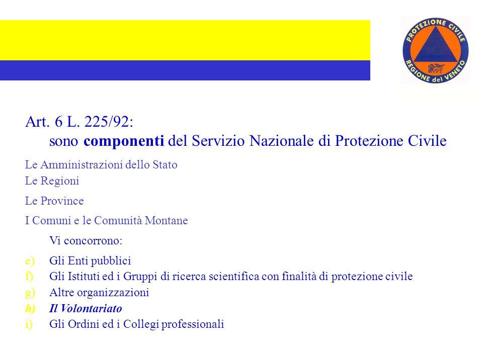 Art. 6 L. 225/92: sono componenti del Servizio Nazionale di Protezione Civile