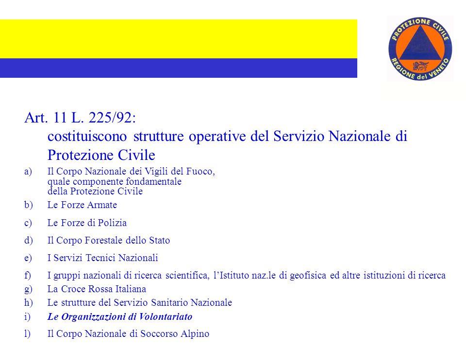 Art. 11 L. 225/92: costituiscono strutture operative del Servizio Nazionale di Protezione Civile