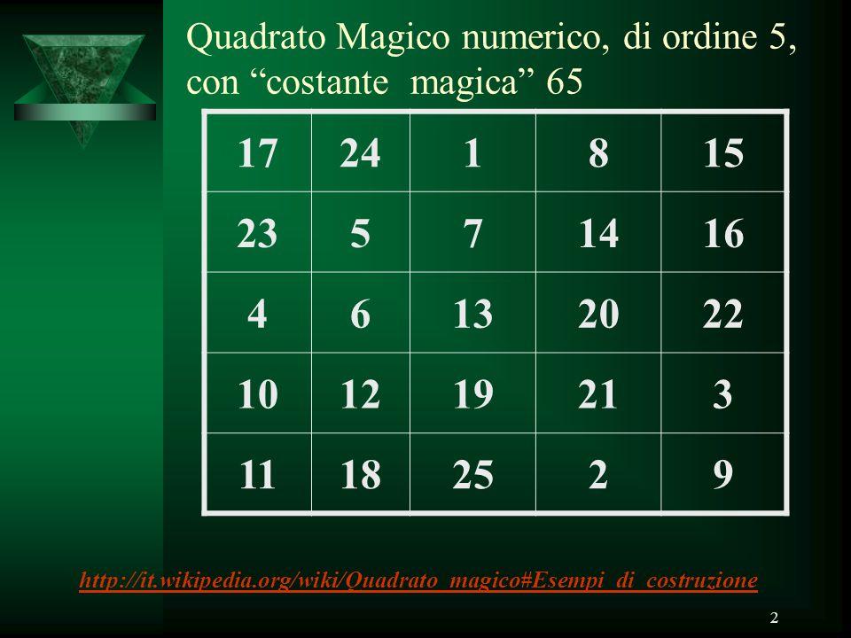 Quadrato Magico numerico, di ordine 5, con costante magica 65