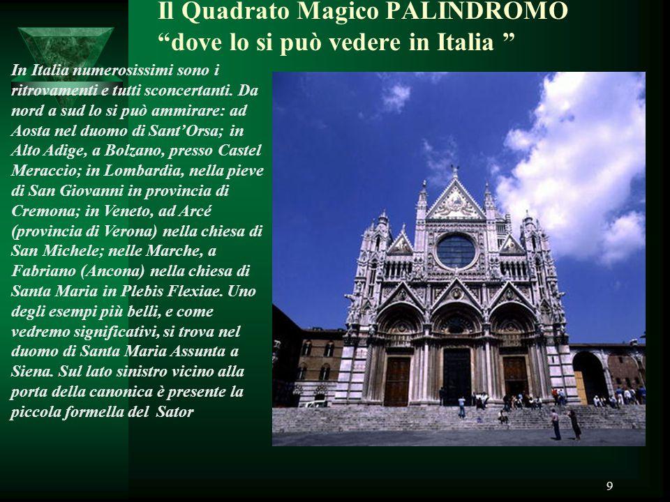 Il Quadrato Magico PALINDROMO dove lo si può vedere in Italia