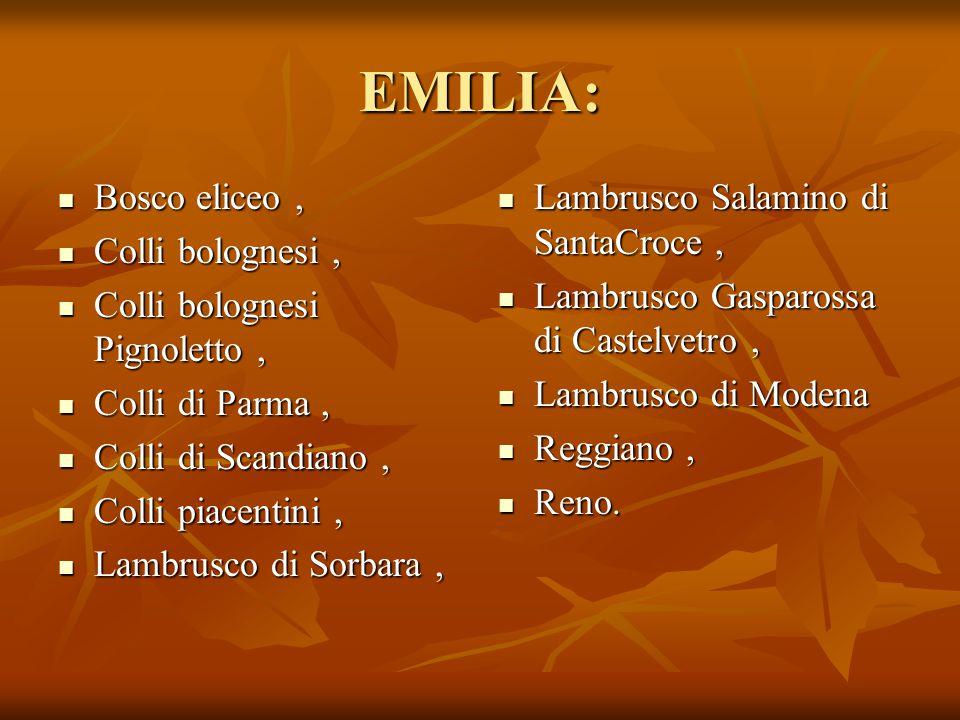 EMILIA: Bosco eliceo , Colli bolognesi , Colli bolognesi Pignoletto ,