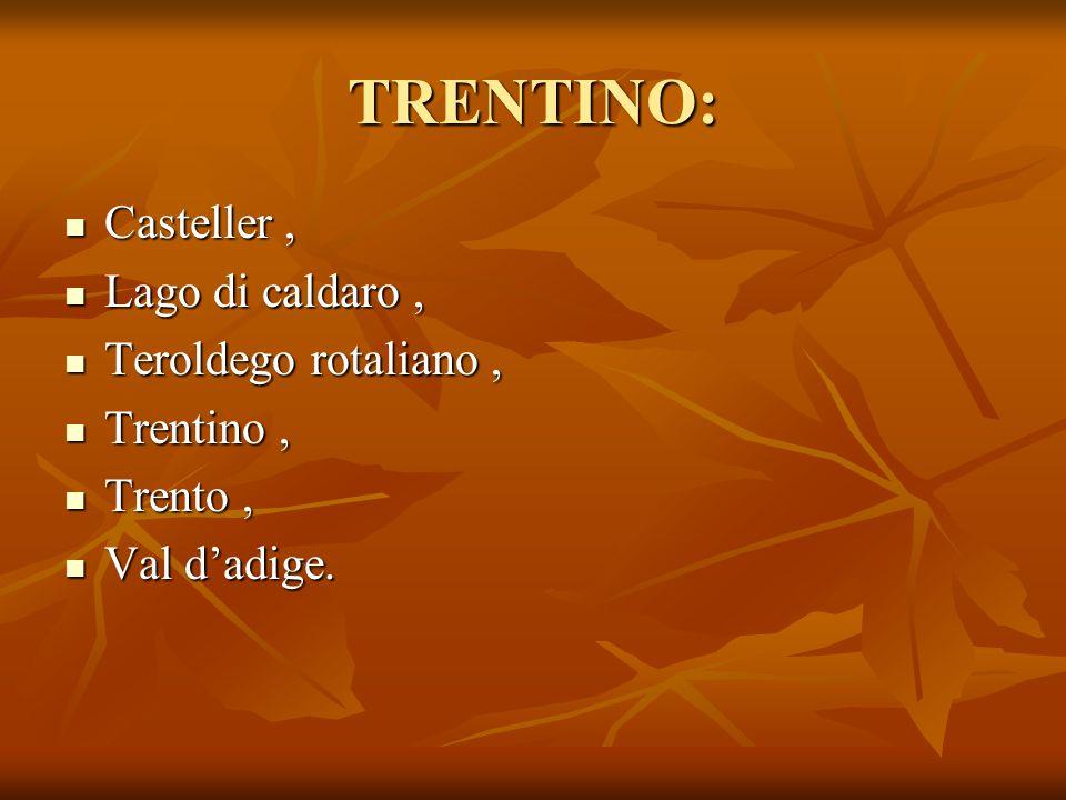 TRENTINO: Casteller , Lago di caldaro , Teroldego rotaliano ,
