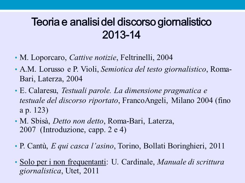 Teoria e analisi del discorso giornalistico 2013-14