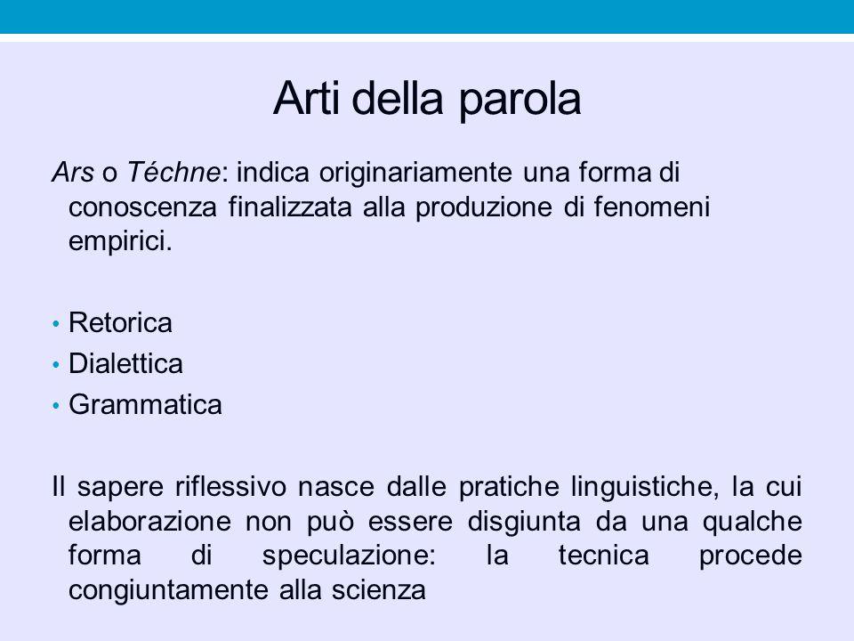 Arti della parola Ars o Téchne: indica originariamente una forma di conoscenza finalizzata alla produzione di fenomeni empirici.