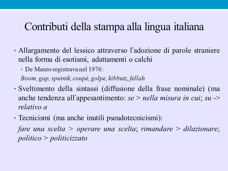 Contributi della stampa alla lingua italiana