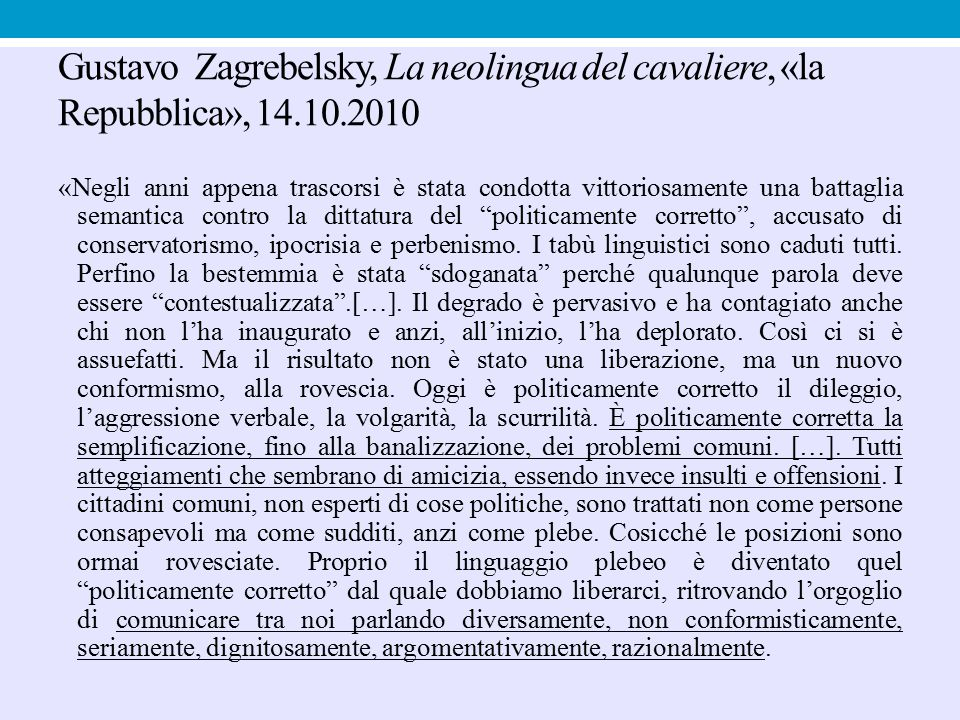 Gustavo Zagrebelsky, La neolingua del cavaliere, «la Repubblica», 14