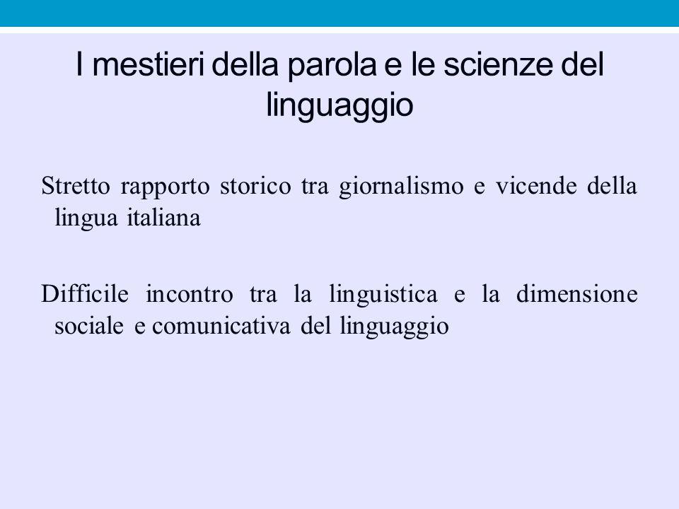 I mestieri della parola e le scienze del linguaggio
