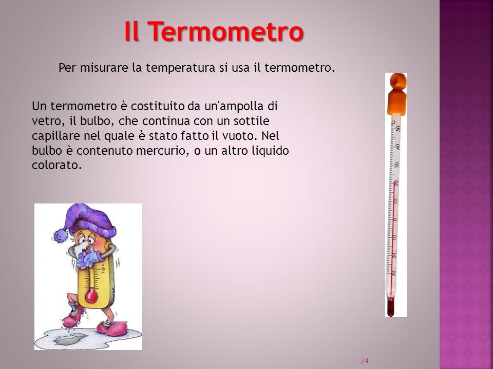 Il Termometro Per misurare la temperatura si usa il termometro.