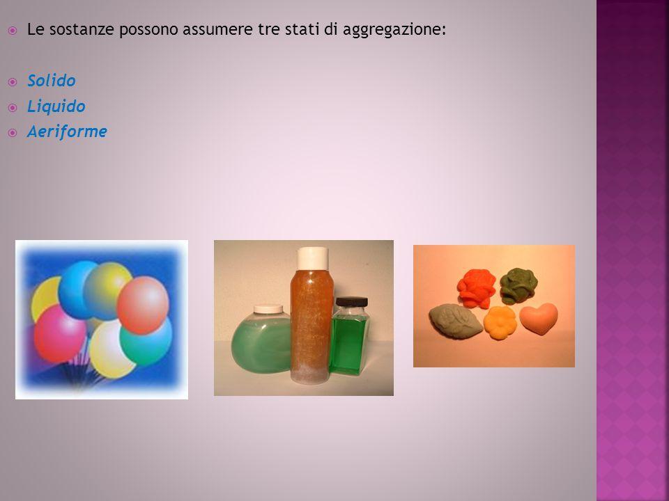 Le sostanze possono assumere tre stati di aggregazione: