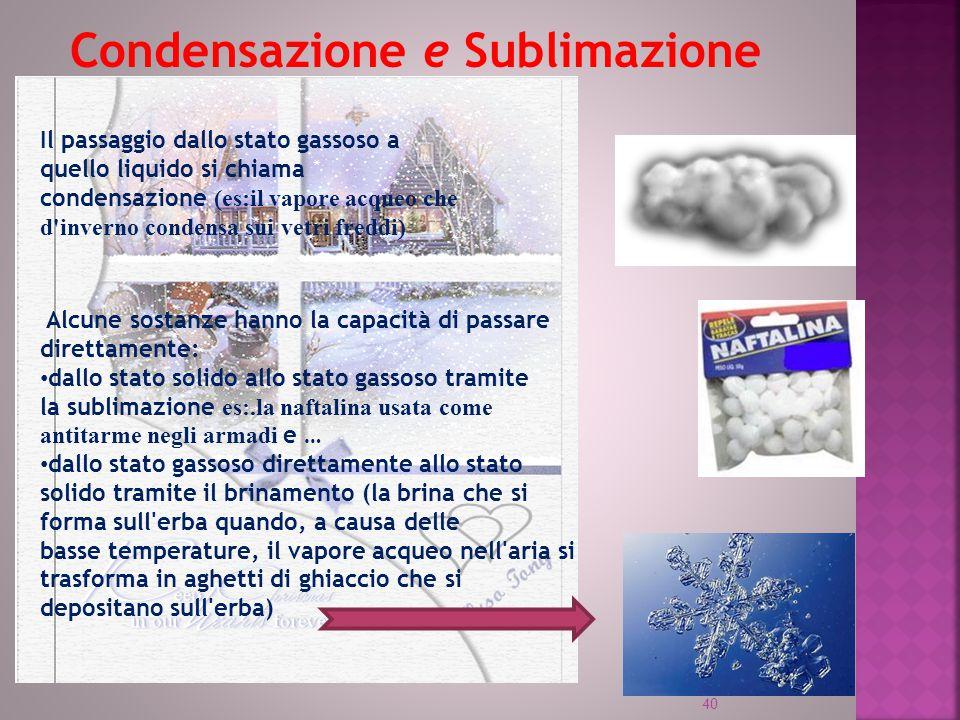 Condensazione e Sublimazione