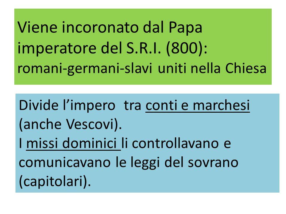 Viene incoronato dal Papa imperatore del S. R. I