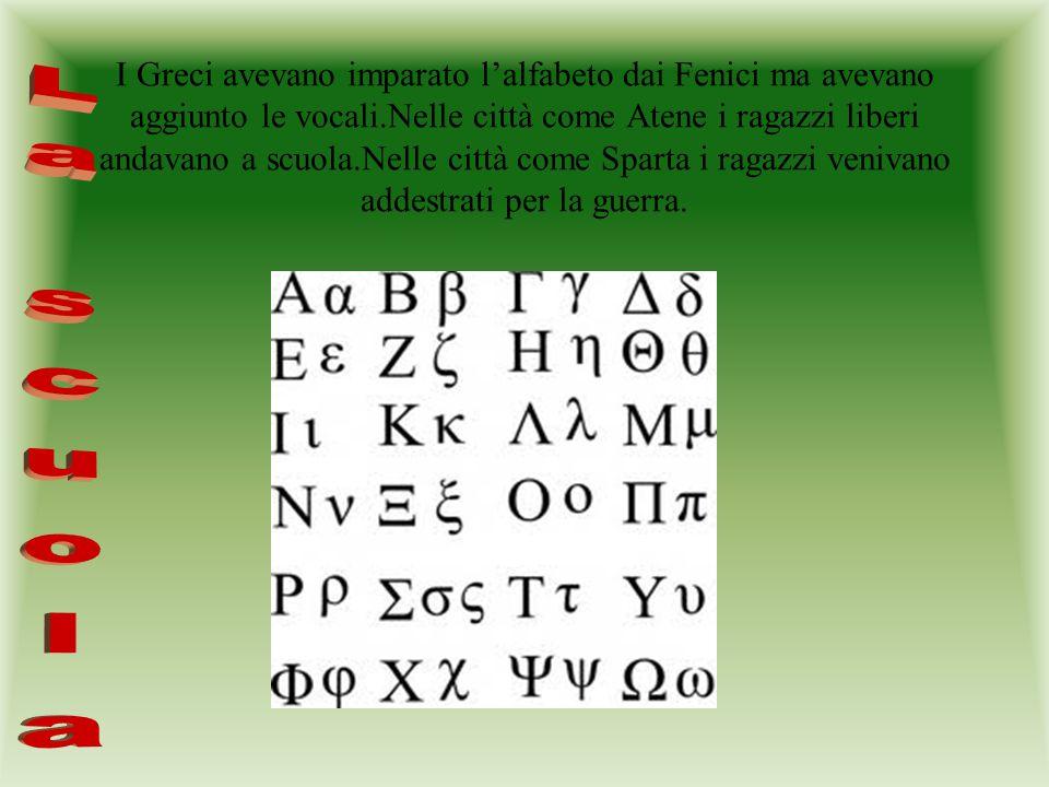 I Greci avevano imparato l'alfabeto dai Fenici ma avevano aggiunto le vocali.Nelle città come Atene i ragazzi liberi andavano a scuola.Nelle città come Sparta i ragazzi venivano addestrati per la guerra.