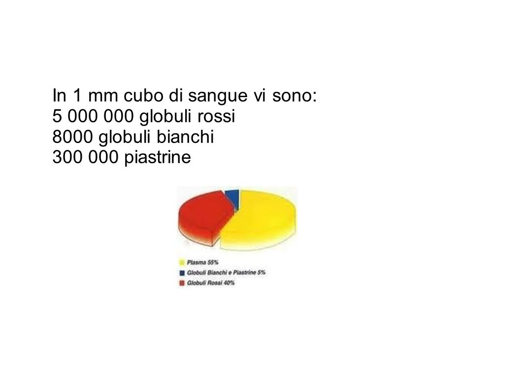 In 1 mm cubo di sangue vi sono: