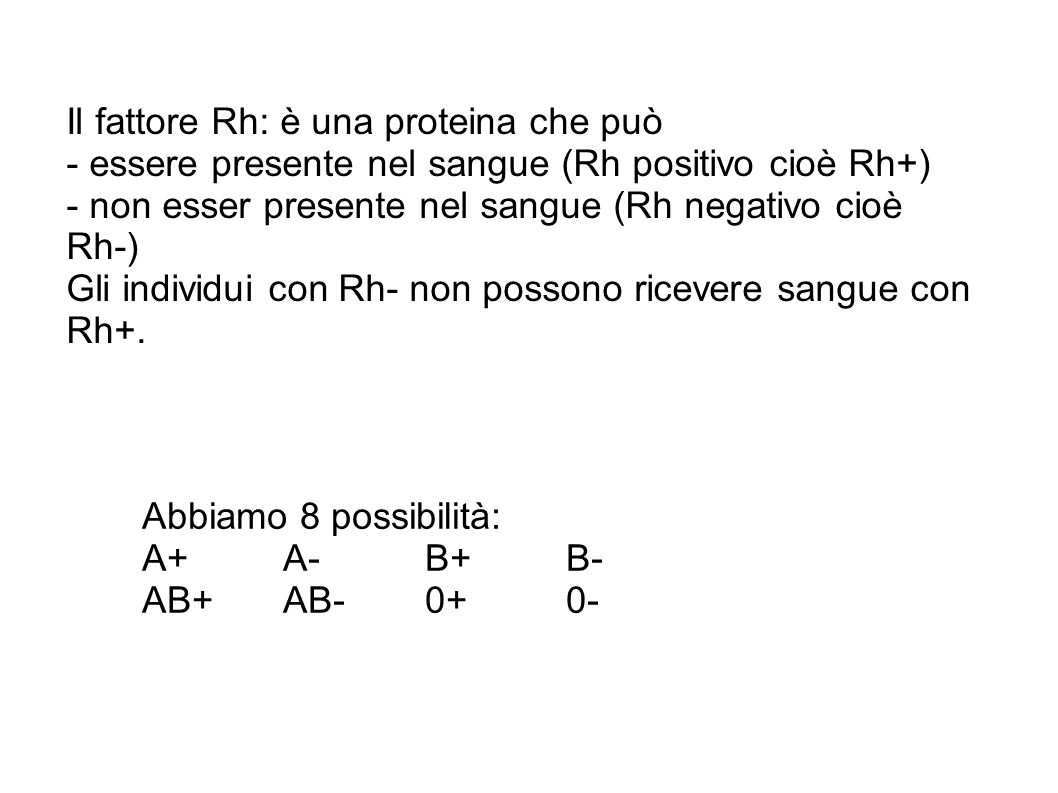 Il fattore Rh: è una proteina che può