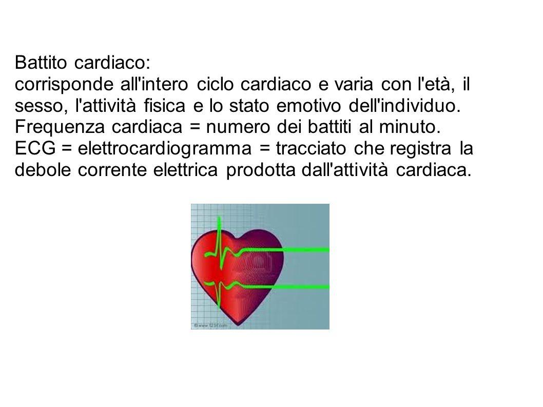 Battito cardiaco: corrisponde all intero ciclo cardiaco e varia con l età, il sesso, l attività fisica e lo stato emotivo dell individuo.