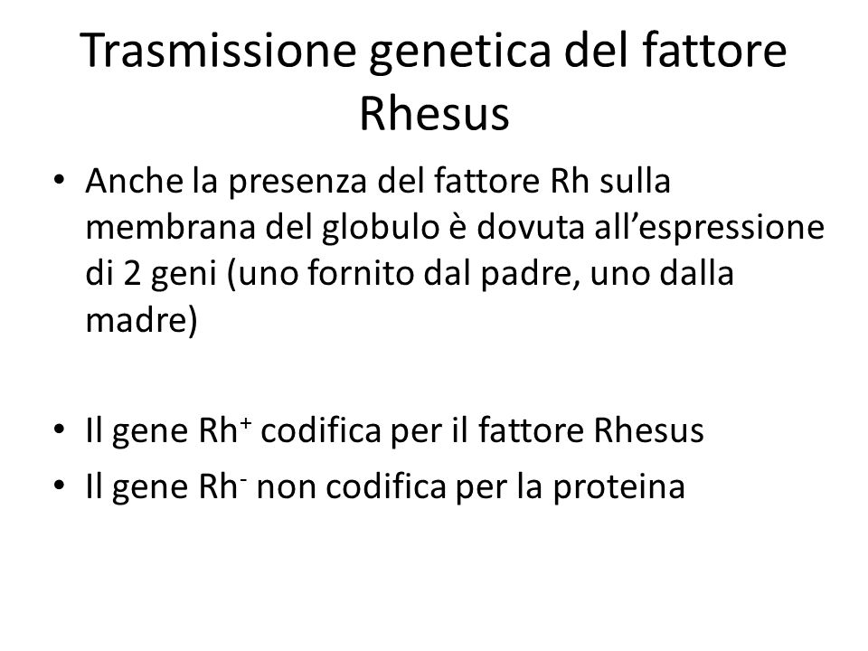 Trasmissione genetica del fattore Rhesus