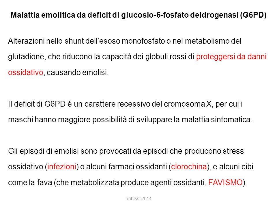 Malattia emolitica da deficit di glucosio-6-fosfato deidrogenasi (G6PD)