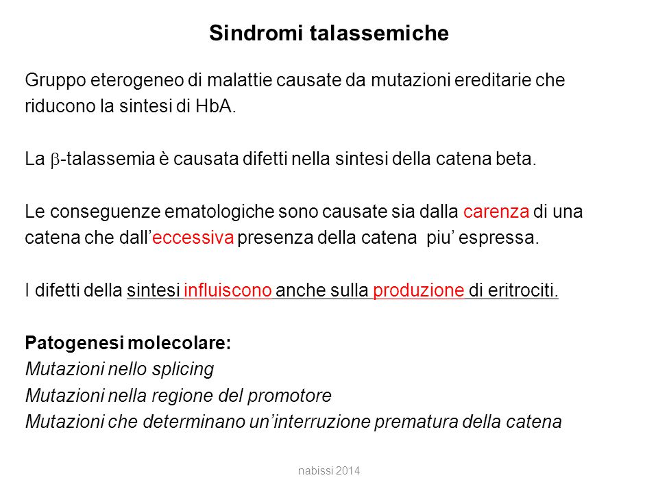 Sindromi talassemiche